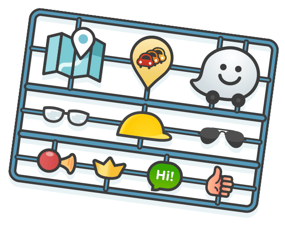 A cut-out board with various icons and images commonly used in Waze