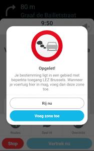 Weergave van het bericht dat je krijgt wanneer je route door de lage emissie zone van Brussel zou gaan