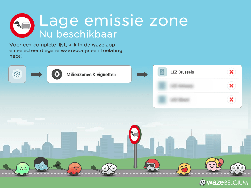 Infographic showing how it is possible to add a pass in the app for one of the low emission zones zones in Belgium