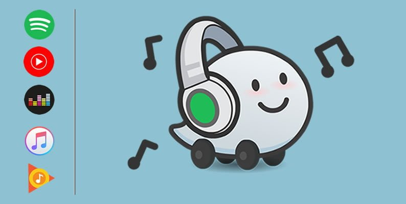Wazer icon listening to music with Spotify, YouTube Music, Deezer, Apple Music and Google Play Music icons