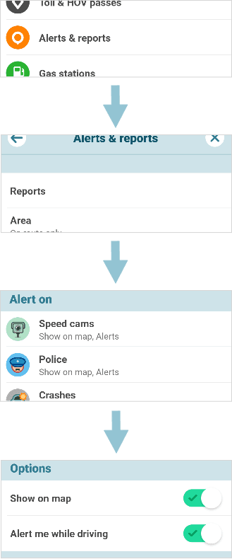 Steps to disable speed cams and police presence in navigation app Waze
