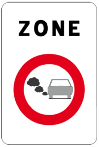 Sign indicating the start of a low emission zone in Belgium
